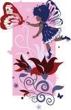 κορίτσι νεράιδων λίγη σκιαγραφία διανυσματική απεικόνιση