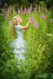 κορίτσι νεράιδων με τα λουλούδια Στοκ Εικόνες