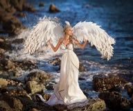 Κορίτσι νεράιδων του Κύκνου στην παραλία Αφηρημένες ανασκοπήσεις φαντασίας με το μαγικό βιβλίο Στοκ εικόνα με δικαίωμα ελεύθερης χρήσης