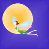 Κορίτσι νεραιδών ή νεράιδων σε ένα υπόβαθρο με το νυχτερινό ουρανό και το φεγγάρι Β διανυσματική απεικόνιση