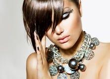 Κορίτσι ομορφιάς γοητείας μόδας Στοκ Εικόνες