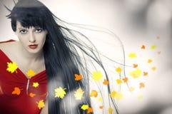 Κορίτσι ομορφιάς με την ανάπτυξη του τριχώματος Στοκ Εικόνα