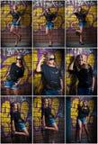 Κορίτσι ομορφιάς που θέτει τη μόδα κοντά στον τούβλινο τοίχο στην οδό Νέα γυναίκα με τα γυαλιά ήλιων ενάντια σε ένα γκράφιτι Στοκ Εικόνες