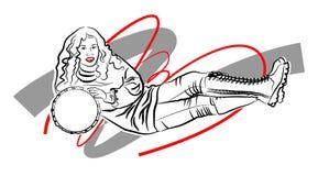 Κορίτσι ομορφιάς τέχνης γραμμών με το πρότυπο κύκλων Στοκ εικόνες με δικαίωμα ελεύθερης χρήσης