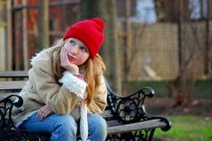 κορίτσι πάγκων Στοκ εικόνες με δικαίωμα ελεύθερης χρήσης