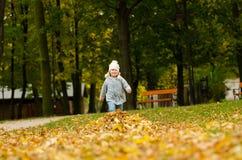 Κορίτσι παιδιών στα φύλλα φθινοπώρου Στοκ φωτογραφίες με δικαίωμα ελεύθερης χρήσης