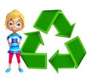 Κορίτσι παιδιών με ανακύκλωσης Στοκ φωτογραφία με δικαίωμα ελεύθερης χρήσης