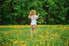 Κορίτσι παιδιών στο στεφάνι πικραλίδων στον τομέα λουλουδιών άνοιξη Στοκ Εικόνες