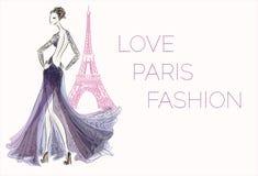 κορίτσι Παρίσι μόδας Απεικόνιση αποθεμάτων