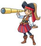 Κορίτσι πειρατών με το τηλεσκόπιο διανυσματική απεικόνιση