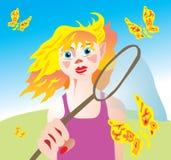 κορίτσι πεταλούδων καθ&alpha Στοκ φωτογραφία με δικαίωμα ελεύθερης χρήσης