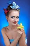 κορίτσι πεταλούδων Στοκ Φωτογραφίες