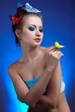 κορίτσι πεταλούδων Στοκ Εικόνες