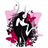 κορίτσι πεταλούδων διανυσματική απεικόνιση