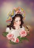 κορίτσι πεταλούδων λίγα Στοκ φωτογραφία με δικαίωμα ελεύθερης χρήσης