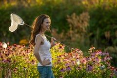 κορίτσι πεταλούδων καθαρό Στοκ Φωτογραφίες