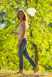 κορίτσι πεταλούδων καθαρό Στοκ φωτογραφίες με δικαίωμα ελεύθερης χρήσης