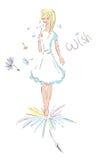 κορίτσι πικραλίδων διανυσματική απεικόνιση
