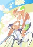 κορίτσι ποδηλατών διανυσματική απεικόνιση