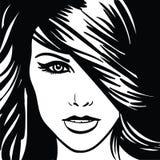κορίτσι Πορτρέτο μονοχρωματικός διανυσματική απεικόνιση
