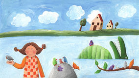 Κορίτσι, πουλί και κροκόδειλος Στοκ φωτογραφία με δικαίωμα ελεύθερης χρήσης