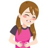 Κορίτσι που έχει το στομαχόπονο ελεύθερη απεικόνιση δικαιώματος