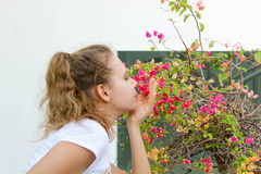 Κορίτσι που απολαμβάνει τα λουλούδια στοκ φωτογραφία με δικαίωμα ελεύθερης χρήσης
