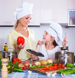 Κορίτσι που βοηθά τη μητέρα για να προετοιμαστεί Στοκ Φωτογραφίες
