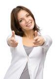Κορίτσι που δείχνει με το χέρι στοκ εικόνα με δικαίωμα ελεύθερης χρήσης