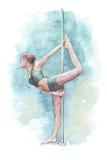 Κορίτσι που κάνει την τεντώνοντας άσκηση στον πυλώνα Στοκ Εικόνα