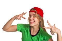 Κορίτσι που κάνει το μορφασμό Στοκ Φωτογραφία