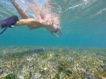 Κορίτσι που κολυμπά με αναπνευτήρα σε μια όμορφη αφθονία λιμνοθαλασσών των ψαριών Στοκ Φωτογραφίες
