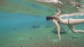 Κορίτσι που κολυμπά στη μάσκα και το σωλήνα στο διαφανές θαλάσσιο νερό φιλμ μικρού μήκους