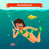 Κορίτσι που κολυμπά με αναπνευτήρα στη θάλασσα με τα ψάρια Στοκ Εικόνα