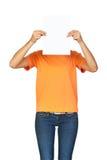 Κορίτσι που κρατά ένα κενό έγγραφο Στοκ φωτογραφία με δικαίωμα ελεύθερης χρήσης