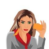 Κορίτσι που κρατά μια επαγγελματική κάρτα απεικόνιση αποθεμάτων