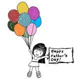 Κορίτσι που κρατά μια σημείωση και τα μπαλόνια για την ημέρα Father's Στοκ Φωτογραφία