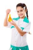 Κορίτσι που κρατά τη χημική φιάλη στοκ εικόνες με δικαίωμα ελεύθερης χρήσης