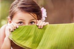 κορίτσι που κρύβει ελάχι&s Στοκ Φωτογραφία