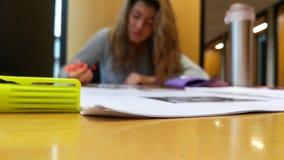 Κορίτσι που μελετά σε μια βιβλιοθήκη Στοκ φωτογραφία με δικαίωμα ελεύθερης χρήσης
