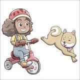 Κορίτσι που οδηγά ένα τρίκυκλο ποδήλατο και που ακολουθεί από το σκυλί shiba - άσπρο υπόβαθρο Στοκ Εικόνα