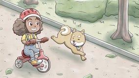 Κορίτσι που οδηγά ένα τρίκυκλο ποδήλατο και που ακολουθεί από το σκυλί shiba σε ένα πάρκο Στοκ Φωτογραφίες