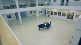 Κορίτσι που παίζει το πιάνο στη στοά εικόνων απόθεμα βίντεο