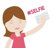 Κορίτσι που παίρνει την έννοια φωτογραφιών Selfie στο άσπρο υπόβαθρο ελεύθερη απεικόνιση δικαιώματος