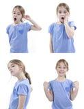 Κορίτσι που παρουσιάζει διαφορετικά συναισθήματα στοκ εικόνα