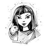 κορίτσι που παρουσιάζε&io Συρμένα χέρι κινούμενα σχέδια doodle ελεύθερη απεικόνιση δικαιώματος