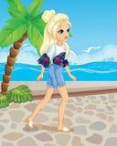 Κορίτσι που περπατά κατά μήκος της προκυμαίας διανυσματική απεικόνιση