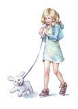 Κορίτσι που περπατά με την απεικόνιση watercolor σκυλιών της Στοκ φωτογραφίες με δικαίωμα ελεύθερης χρήσης