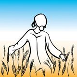 Κορίτσι που περπατά στο λιβάδι ελεύθερη απεικόνιση δικαιώματος