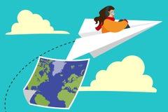 Κορίτσι που πετά στο αεροπλάνο εγγράφου Στοκ Φωτογραφίες